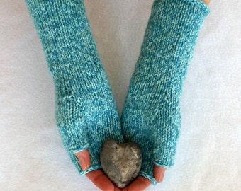 fingerless mitts - hand knit arm warmers,  teal tweed reclaimed merino blend yarn, ooak