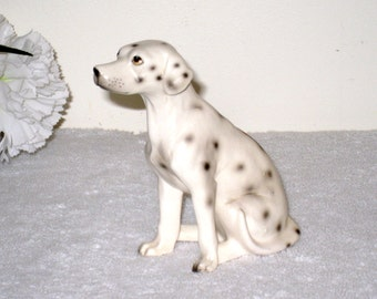 Realistic Vintage Ceramic Dalmatian, Dalmation Figurine, Souvenir of Long Beach, Cal. 4 1/4 x 2 x 3 5/8 Inches