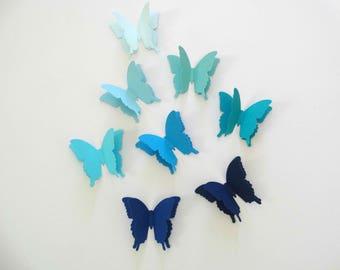 3D Paper Butterflies, baby boy shower decor, birthday party accent, garden party decor, wedding accent