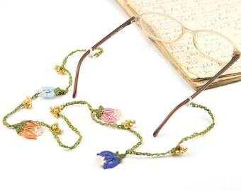 Glasses Strap- Handmade Crochet Eyeglass Accessories, Colorful Tulip Flower Eyeglass Holder, Crochet Eyeglasses Strap, Bohemian Jewelry