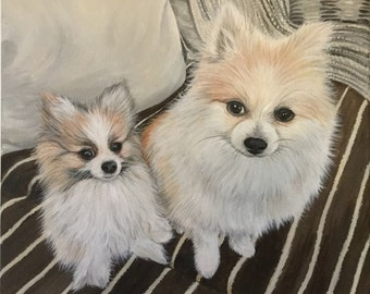 12x16 two dogs painting custom pet portrait hand painted on canvas Pomeranian gift