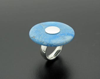 Big chrysocolla silver ring, pi stone ring, semi precious stone ring, statement chrysocolla silver ring
