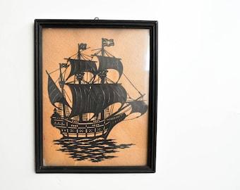 Vintage Paper Cut Ship Silhouette