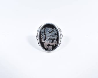 Vintage 1980's Native American Style Lion inlay Men's Ring