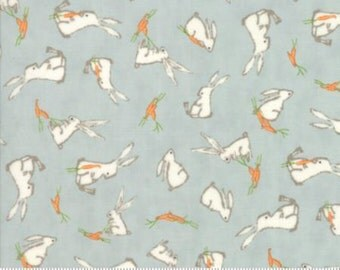 Darling Little Dickens, 49001 16 Puddle,Beautiful Shade of Blue with Rabbits, Baby Boy Fabric, New Moda Designer, Sold In Half Yard Amounts
