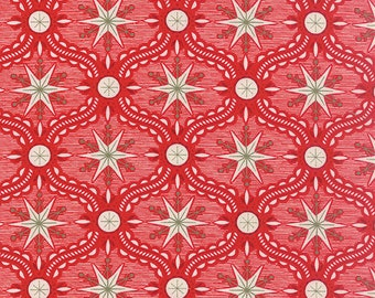 25th and Pine Frosty Avenue Red by BasicGrey of Moda Fabrics, 30363 12, Sold by the Half Yard, Christmas Red with Retro Feel