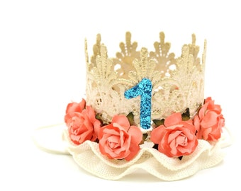 Birthday Moana inspired lace crown || mini Tallulah || photography prop || Hawaiian Princess