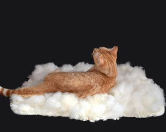 Cruelty Free, Polypay., White Wool, Cat Bed, Pet Bed, Dog Mat, Ethical Sheepskin, Felted Wool, Fleece Rug, Natural Cat Bed