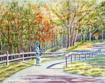 Autumn Landscape, Original Watercolor Painting,  Man, Fishing Pole, trees, green, orange, blue, violet