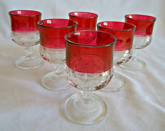 6 Kings Crown Wine Glasses Goblets Thumbprint Ruby Flash 1960's