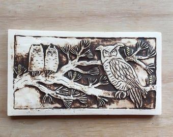 Great Horned Owl with Fledglings handmade ceramic tile