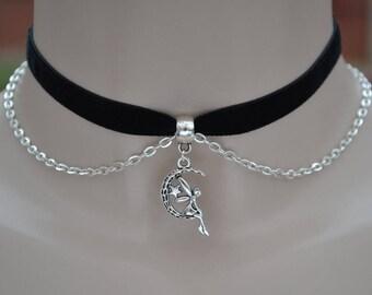 BLACK 10mm Velvet Ribbon Choker Necklace With Fairy Moon Charm & Chain Drapes -xs.. or choose another colour velvet  :)