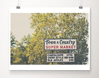 supermarket photograph Missouri photograph retro sign photograph midwest photograph food photography kitchen wall art tree print