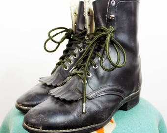 Laredo Black Lace Up Roper Boots