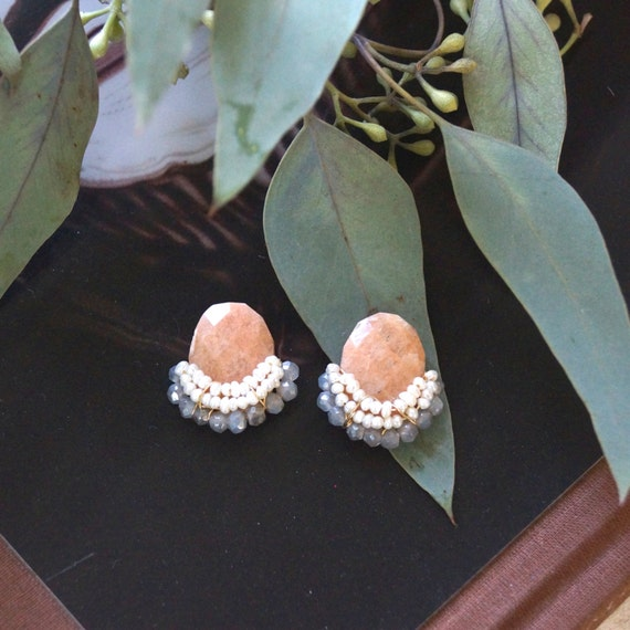Large stud earrings -peach rhodonite