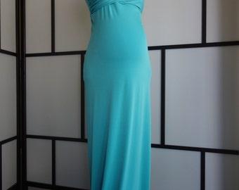 Lisa Gown, Turquoise Jersey Slim Fit Maternity Gown, Fitted Maternity Dress, Maternity photo props,Bridesmaids,weddingdress,Bridal Dress