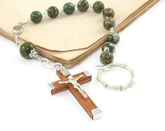 Irish Penal Rosary, Jasper & Silver, Catholic Pocket Rosary