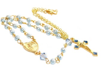 Rosary Necklace, Blue Pearl Catholic Jewelry / Dainty Blue & Gold Rosary Style Necklace
