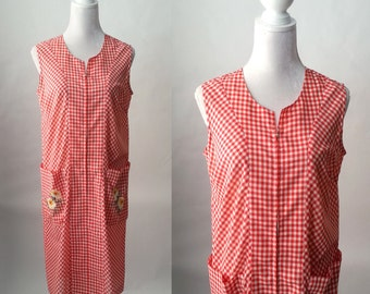 Vintage 1970s Red and White Checkered Gingham Day Dress, Summer Dress, Large Size