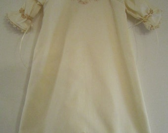 Ivory and Ecru Baby Daygown with matching Bonnet