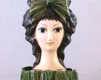 Mod Lady Paper Mache LIp Stick Makeup Caddy 1960's Kitsch