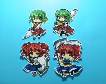Touhou Project Art Sticker 6Pcs. Yuka, Aya, Komachi, Yamazanadu Free Shipping