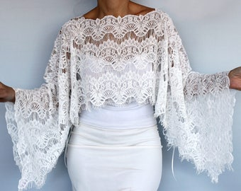 Bridal Shrug, Lace Bridal Cape Tunic, Shawl Bolero, Off White Eyelash Lace Top Dress Cover-up, Wedding Cape Gown, Capelet