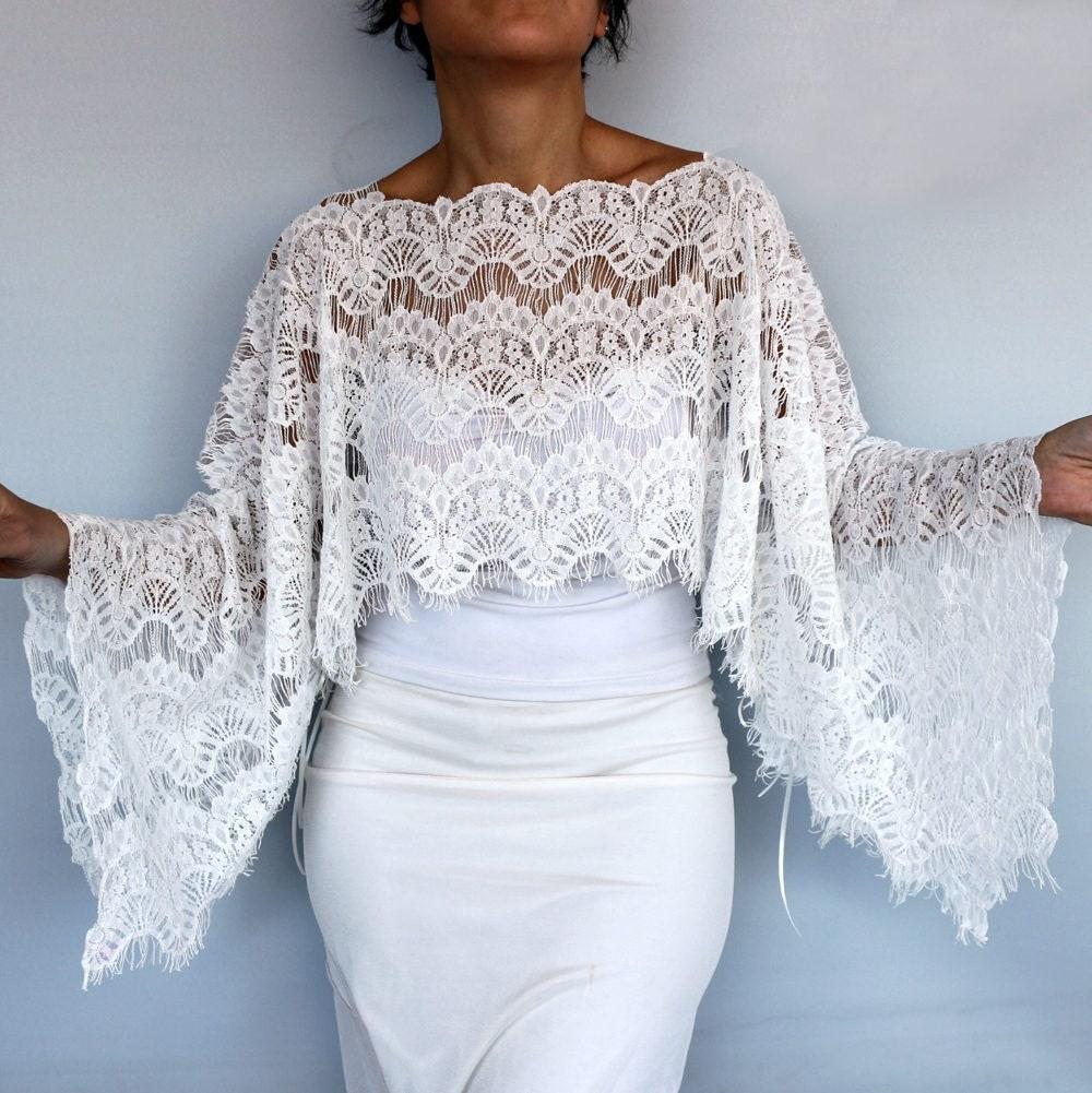 Bridal shrug lace bridal cape tunic shawl bolero off white for Lace shrugs for wedding dresses