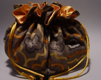 Yellow satin lewelry pouch