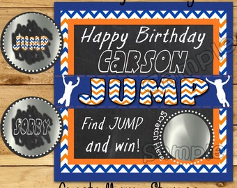 Jump Birthday Party game Custom Happy Birthday Scratch Off Cards Party Scratch off ticket Jumping Trampoline birthday game ideas 12 Precut
