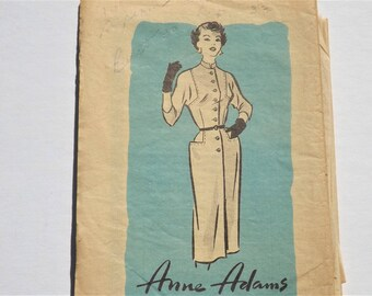 1950s Dress Pattern: Anne Adams 4560, Sheath Dress with Mandarin Collar