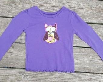 SALE - Purple Long Sleeve Shirt with Owl Applique - Size 3T