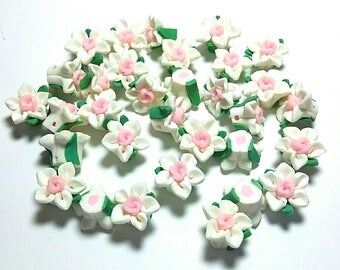 20 Fimo Polymer Clay Fimo White Flowers Rose Beads 15mm
