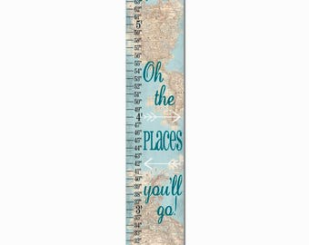 Oh The Places You'll Go World Map Canvas Height Growth Chart