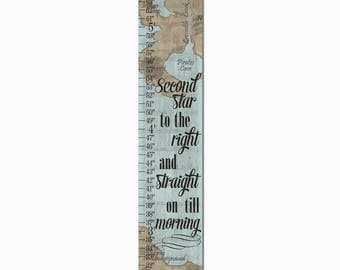 Neverland Map Canvas Height Growth Chart Print