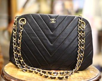 Vintage Chanel V Stitch Black Lambskin Shoulder Bag Long Short Chain Style