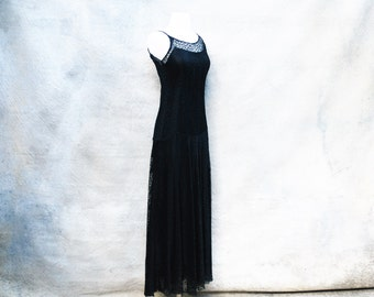 1930s glamorous Old Hollywood black lace formal dress - 30s floor length art deco evening  gown- medium