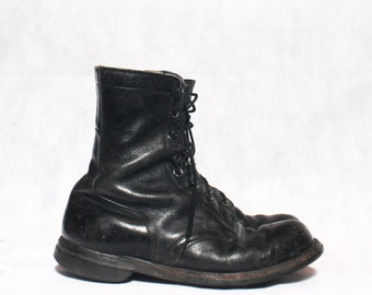 8 R | Vintage 1960's Combat Boot Black Leather Lace Up Military Boot