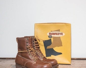 SALE 9 EW | Men's Vintage Work Boots Acme Hawkeye Cork Sole Lace Up Ankle Boots