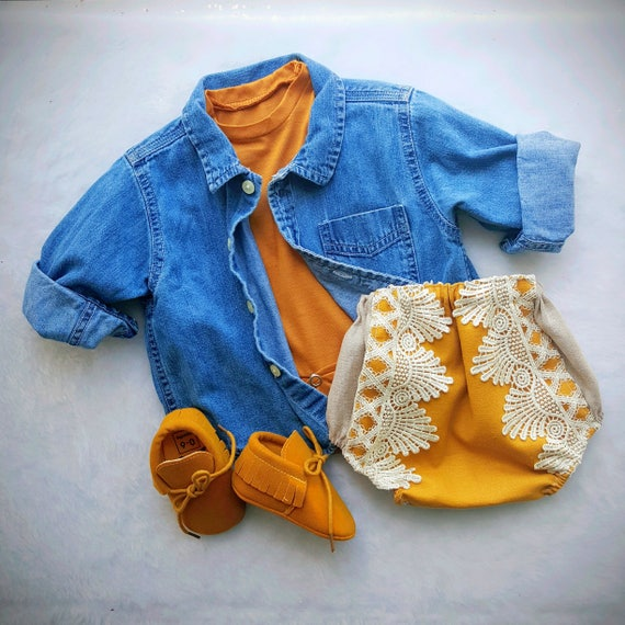 Linen Boho Baby Bloomers, Baby Girl, lace bloomers, Gypsy Bohemian Bloomers,  Diaper Cover, Mustard Yellow, Gold, Crochet, Toddler, Spring