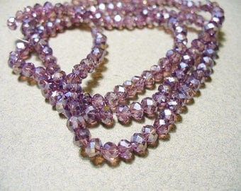 Crystal Beads Purple AB Faceted  Rondelles 4x3mm