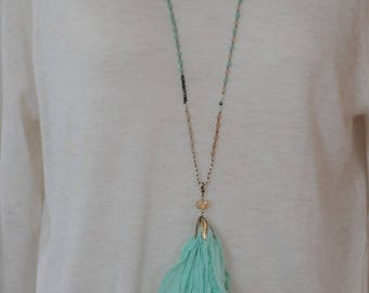 SALE - Fabric Tassel, Detachable Fabric Tassel, Nude Mint Faceted Beads, Long Necklace, Gift for her, Dangle Necklace, Summer Necklace