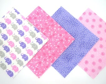 """36 Cotton Flannel 6""""x6"""" Pre Cut Quilt Square kit in Pink, Lavender and White Elephants and Matching Prints"""