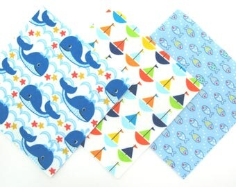 "36 Flannel Fabric Pre Cut Quilt Kit in Blue Whales, Bright Sailboats,Tiny Fish Matching Print Flannel 6""x6"" Quilt Squares"