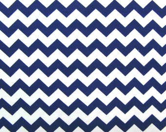 Flannel Fabric by the Yard in a Navy Blue and White Chevron Print 1 Yard