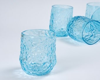 Blown Glass Tumbler, Sea Coral Glass in Pale Blue, Juice Glasses, Holiday Entertaining, Party