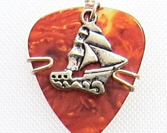 Guitar Pick Jewelry - Tortoise Shell Colored Pick with a Sailing Ship Charm