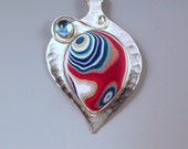 FREE SHIPPING with code- Fordite and Blue Topaz- STUNNING Metallic Colors- Sterling Silver Pendant- One of a Kind- Michigan Jewelry