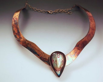 Labradorite Necklace- Egyptian Queen- Colorful Swirl Patina- Metal Art- One of a Kind Collar Necklace