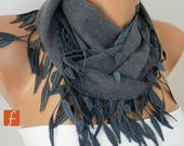 ON SALE --- Gray leaves Pashmina Scarf, Winter Scarf, Cowl Scarf, Gift Ideas For Her, Women Fashion Accessories,Christmas Gift,Best selling
